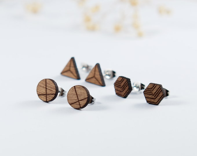 Featured listing image: Geometric Wood Stud Earrings | Simple Studs | Mens Earrings | Mens Gift