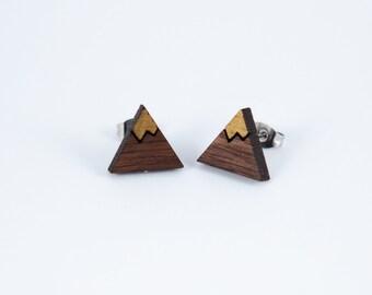 Mountains Engraved Earrings | Walnut Earrings | Mountain Jewelry