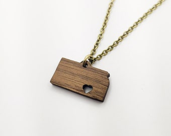 Kansas Hometown Love Personalized Necklace, Laser Engraved, Home, Walnut, Wood, KS State