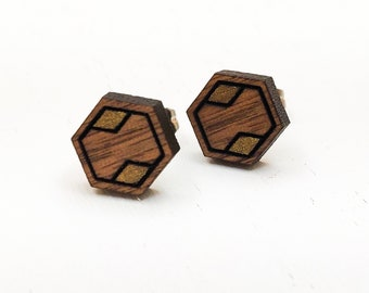 Geometric Gold Accent Engraved Wood Stud Earrings