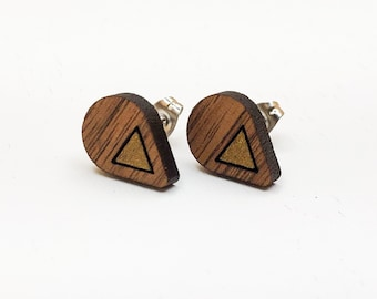 Teardrop Gold Accent Laser Engraved Wood Stud Earrings