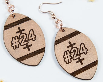 Football Engraved Personalized Dangle Earrings