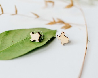 Texas Wood Stud Earrings, Laser Cut Wood Earrings, State Shape Earring, Minimalist Stud Earring, Texas  Tiny Stud Earring, Gift for Her