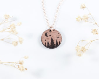 Trees Night Time Scene Necklace | Engraved Outdoors Necklace | Camping Necklace