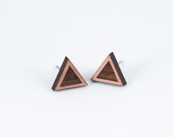 Simple Triangle Wood Stud Earrings | Geometric Laser Cut Wood Earrings | Minimalist Studs | Men EarringsWomen Earrings