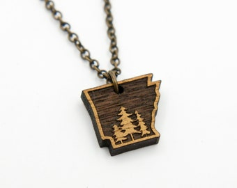 Arkansas Trees Outline Wood Necklace, Laser Cut Wood Charm, Birch Pendant, Arkansas State Necklace, State Shape Necklace, Arkansas Pride