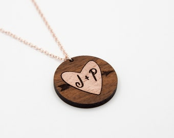 Husband & Wife Initials Heart Necklace