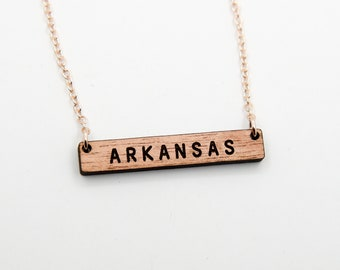 Arkansas Wood Necklace, Rose Gold, Walnut