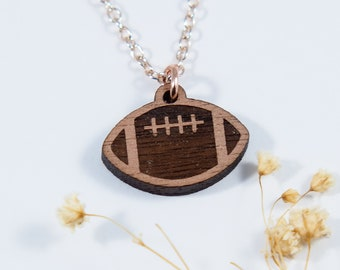 Football Engraved Pendant Necklace