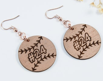 Baseball Personalized Dangle Earrings