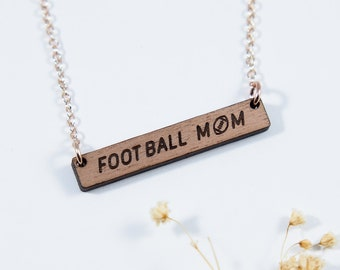 Football Mom Engraved Bar Necklace