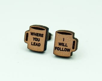 Where You Lead, I Will Follow Stud Earrings, Laser Engraved, Rose Gold Painted Walnut