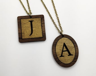 Initial Pendant Laser Engraved Wood Necklace
