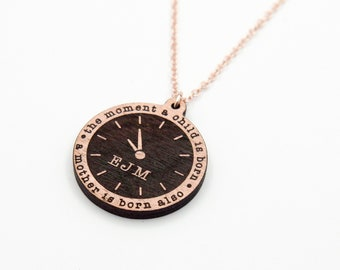 Birth Date, Weight, Time, Initials, Name, Double Sided Necklace