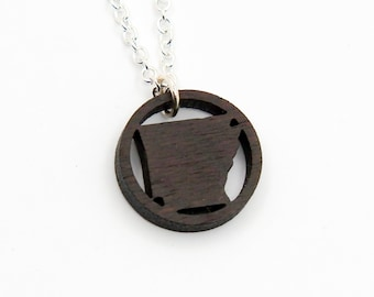 Arkansas Wood Ring Necklace State Jewelry