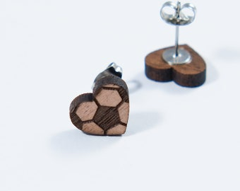 Soccer Heart Stud Earrings