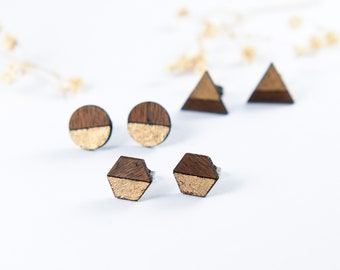 Geometric Engraved Stud Earrings | Gift for Men | Gift for Woman