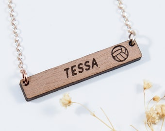 Volleyball Personalized Bar Necklace