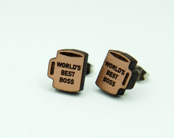 The Office | World's Best Boss | Stud Earrings | Laser Engraved | Painted Walnut