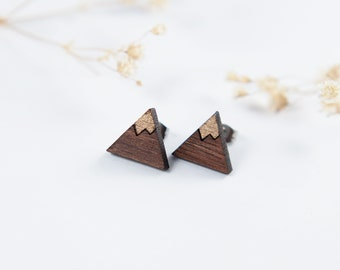 Mountains Engraved Earrings | Walnut Earrings | Mountain Jewelry