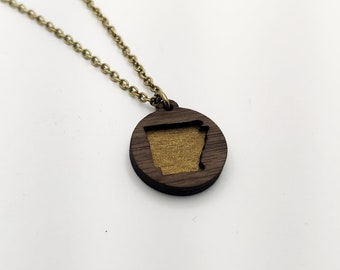 Arkansas Layered Gold Painted laser Cut Wood Pendant Circle Necklace, AR State