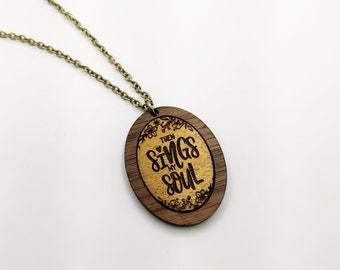 Then Sings My Soul Oval Gold Painted Laser Cut Pendant Necklace