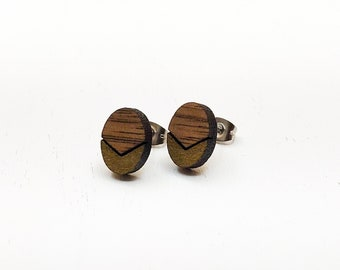 Geometric Chevron Laser Engraved Wood Gold Earrings