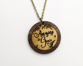 Amazing Grace Laser Engraved Gold Painted Necklace