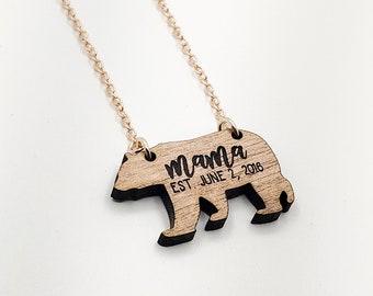 Personalized Mama Bear Birth Date Necklace