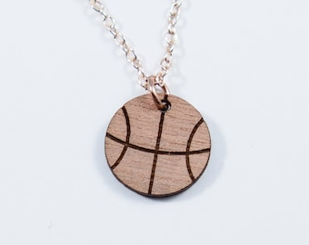 Basketball Engraved Pendant Necklace