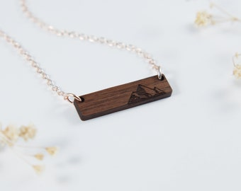 Mountains Bar Necklace | Outdoors Necklace | Hiking Jewelry | Gift For Hiker