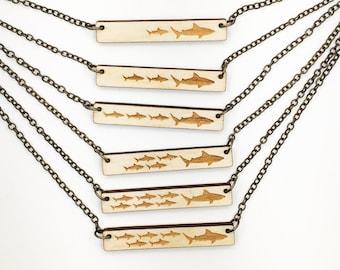 Mama Shark and 1, 2, 3, 4, 5, 6 Pups Engraved Bar Necklace