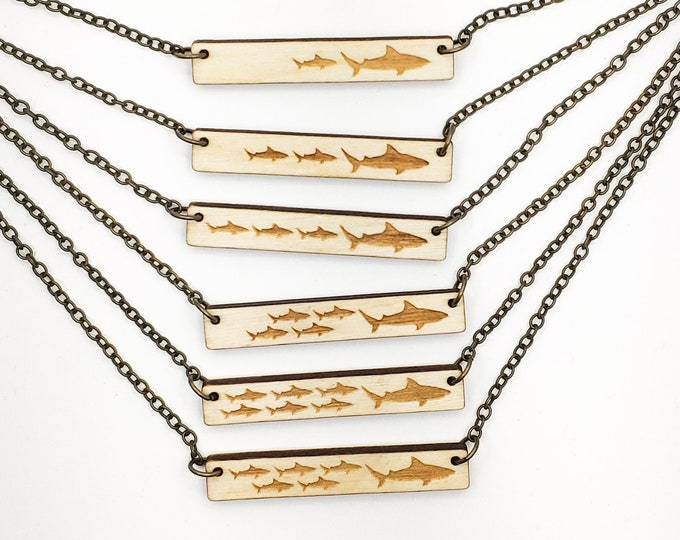 Featured listing image: Mama Shark and 1, 2, 3, 4, 5, 6 Pups Engraved Bar Necklace