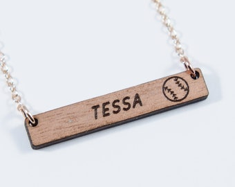 Baseball Personalized Bar Necklace