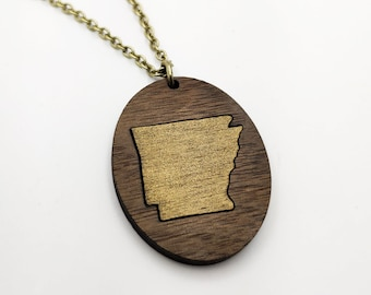 Arkansas Gold Painted Laser Engraved Walnut Necklace, Wood Necklace, AR State