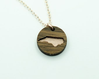 North Carolina Rose Gold Painted Walnut Pendant Necklace, Laser Engraved