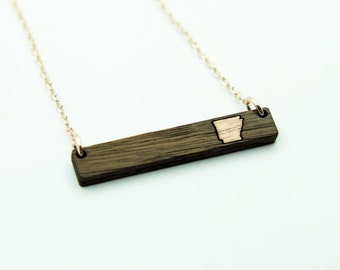 Arkansas Laser Cut Walnut Wood Bar Necklace