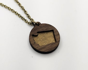 Washington Layered Gold Painted laser Cut Wood Pendant Circle Necklace, WA State