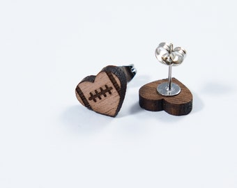 Football Engraved Heart Stud Earrings