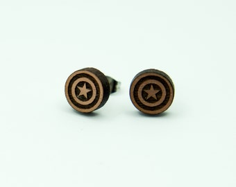 Star and Shield Stud Earrings, Laser Engraved, Rose Gold Walnut