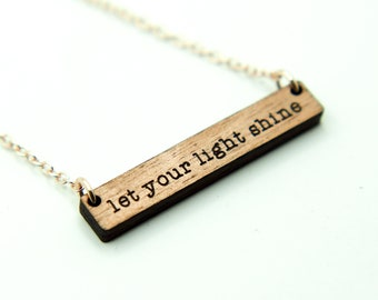 Let Your Light Shine - Matthew 5:16 Double Sided Bar Necklace Laser Engraved