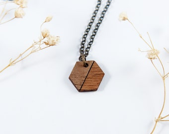 Hexagon Engraved Wood Necklace | Antique Brass | Simple Necklace