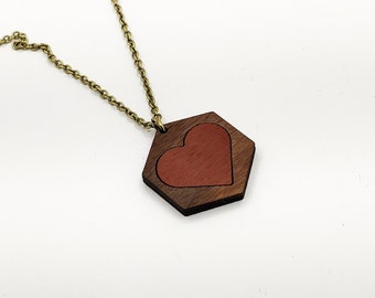 Valentine's Day Necklace, Laser Engraved, Heart Necklace,  Gift for Her, Walnut