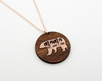 Mama Bear Baby Birth Date Necklace