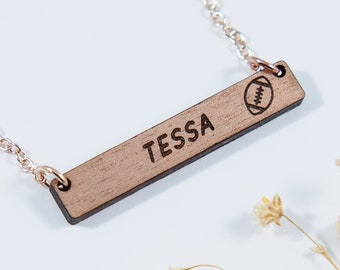 Football Personalized Bar Necklace