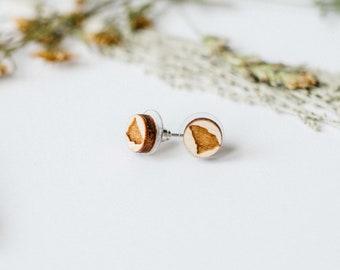 South Carolina Engraved Wood Stud Earrings, Laser Cut Wood Earrings, Minimalist Studs, Men Earrings, Hipster Earrings, Gift for Her