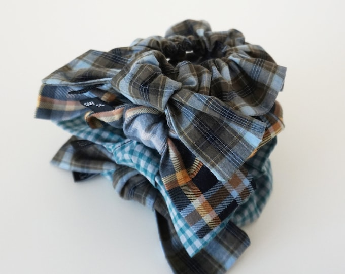 Blunt Bow - Hair Scrunchie  |  Mixed Plaids