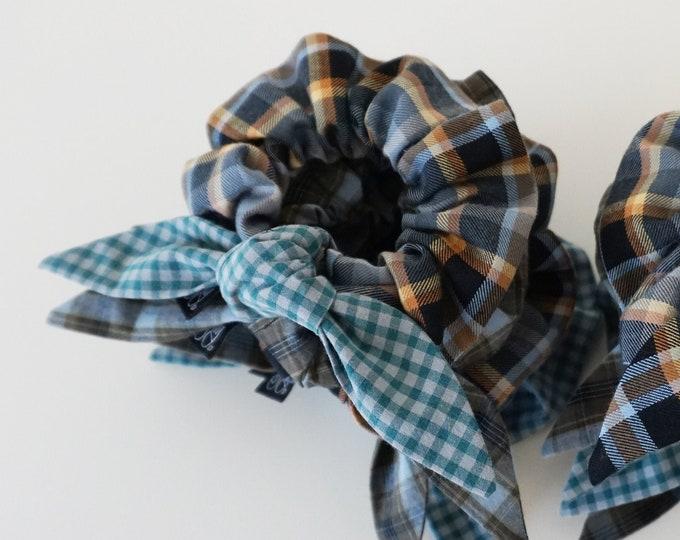 Bandanna Bow - Hair Scrunchie  |  Mixed Plaids