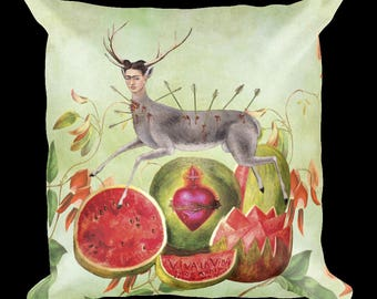 Frida Kahlo Decorative THROW PILLOW, Collage of Paintings, Bohemian Home, Mexican Art