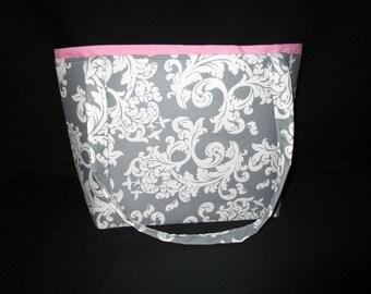 grey and white abstract print Handbag